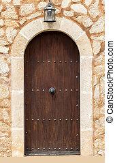 closed wooden door.