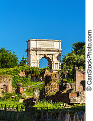 Arch of Titus in the Roman Forum, Italy - Arch of Titus in...