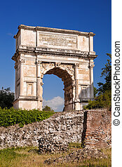 Arch of Titus on Roman Forum in Rome, Italy