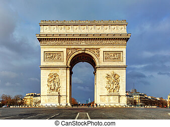 Arch of Triumph (Arc de Triomphe) with dramatic sky, Paris, Fran