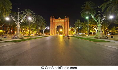 Arch of Triumph in Barcelona, Spain - Nightlife near arch of...