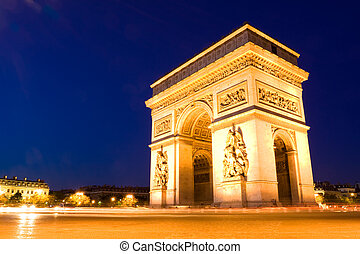 Arch of Triumph. Night - The Arch of Triumph at night. Paris