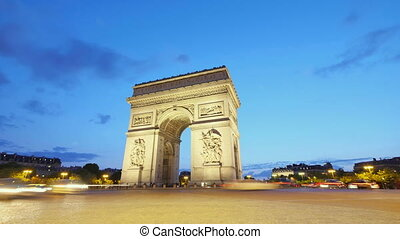 Arch of Triumph of Paris in the Champs Elysees Time Lapse at...