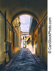 Arch on the old narrow street in a typical small Italian town