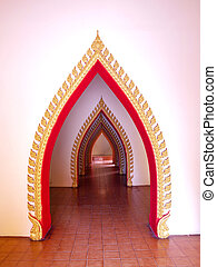 Arch pathway in pagoda, Wat Tham Sua(Tiger Cave Temple), Tha Moung, Kanchanburi, Thailand