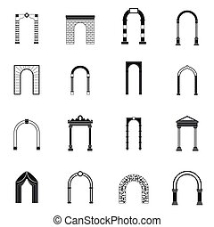 Arch set icons, simple style