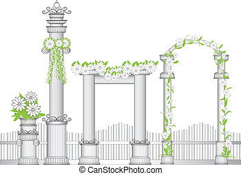 Arch - Stock Vector Illustration: fantasy arch and columns. ...