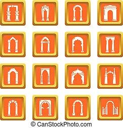 Arch types icons set orange square vector