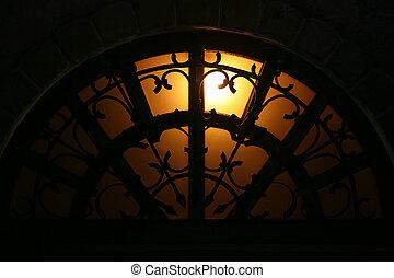 arch window at night