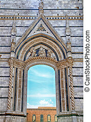Arch window at the Siena Cathedral in Italy