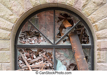 Arch Window of Building Being Demolished