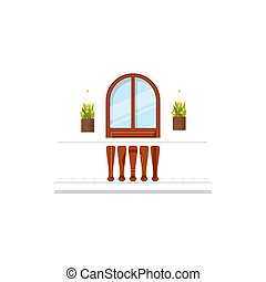 Arch window or doorway on balcony with flowers