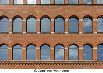 Arch Windows at Brick Building in Amsterdam Netherlands