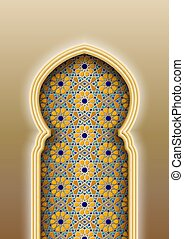 Arch with traditional Arabic Islamic pattern. Vector ...