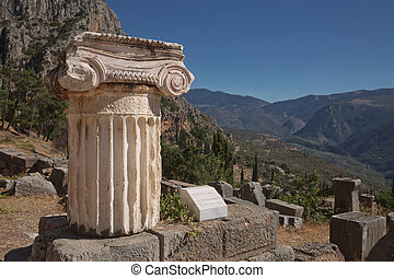 Ruins of Delphi is ancient sanctuary that grew rich as seat of oracle that was consulted on important decisions throughout ancient classical world. UNESCO World heritage.