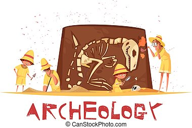 Archaeological Digs Dinosaur Skeleton Illustration - Group...