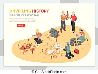 Archaeological Exploration Isometric Concept -...