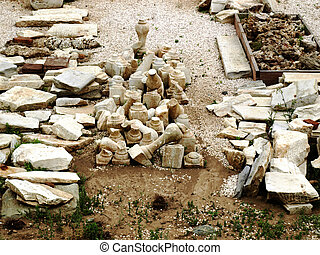 Ancient archaeological finds at an excavation site