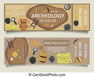 Archaeological museum ticket vector template set