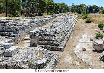 Archaeological Park Neapolis with temple of Zeus at Syracusa, Sicily