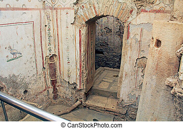 Archaeological Ruins Inside a Residential Home in Ephesus, Turkey
