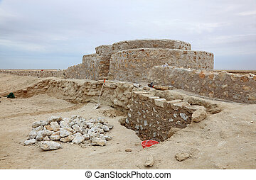Archaeological site in Al Zubarah. Qatar, Middle East