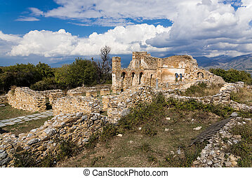 Ruins of the Basilica of Agios (Saint) Achillios at the Small Prespa Lake in northern Greece