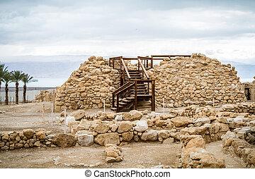 Archaeological site in Qumran National Park, Israel - Qumran...