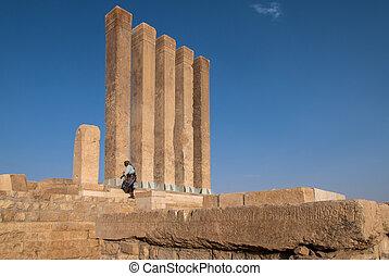 Archaeological site in Yemen - An unidentified man in...