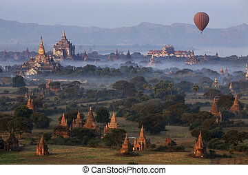 Archaeological Zone - Bagan - Myanmar - Early morning aerial...