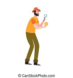 Scientist archaeologist explorer of ancient civilization and history man cartoon character in working process, flat vector illustration isolated on white background.