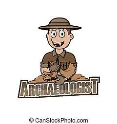 archaeologist logo illustration design