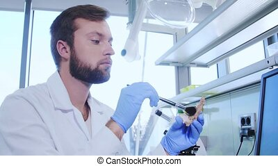 Archaeologist working in natural research lab. Laboratory...