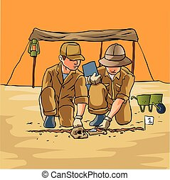 Archaeologists working in field, carefully revealing ancient...