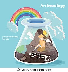 archaeology concept - flat 3d isometric design of...