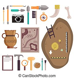 Archaeology icon set vector isolated illustration -...