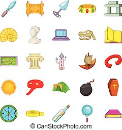 Archaeology icons set, cartoon style - Archaeology icons...
