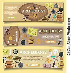 Archaeology vector banners web templates - Vector set of...