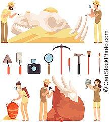 Archaeology work. Paleontologist discover historic...