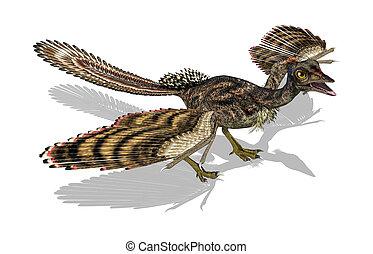 Archaeopteryx - Prehistoric Bird - 3D render featuring an...