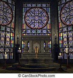 archaic altar or sanctum in a fantasy setting. 3D rendering...