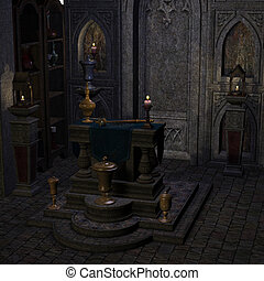 archaic altar or sanctum in a fantasy setting. 3D rendering...