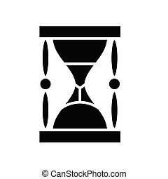 Archaic clocks black icon, concept illustration, glyph symbol, vector flat sign.