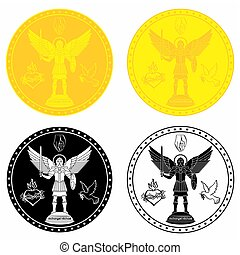 Archangel Michael medal gold and black fill