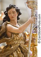 Archangel sculpted in polychromatic cedar wood, art of...