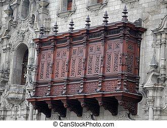 Archbishop's Palace balcony in Plaza de Armas, Lima, Peru,...