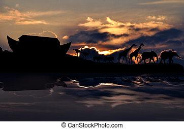 arche noé, coucher soleil, animaux, fond