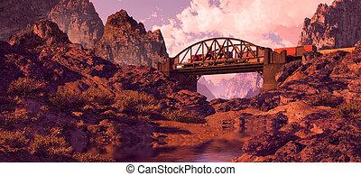Arched Bridge And Diesel Locomotive