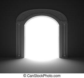 Arched Door with vintage decoration. 3D render.