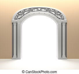 Arched Door with vintage decoration